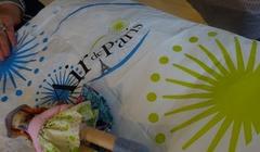 シャルル・ド・ゴール空港の袋と同じような柄のスカート♪.jpg