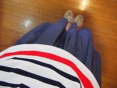 今日は手作りスカートにストライプシャツ.jpg