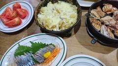 新秋刀魚のお刺身とポテトチーズ焼き.jpg