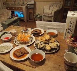 煮魚と野菜の天ぷら お漬け物♪.jpg