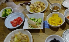 豆腐と豚肉の旨煮 鶏ときゅうりのサラダが美味しかった.jpg